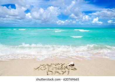 Mother's day background on the sandy beach near ocean, Miami beach, Florida