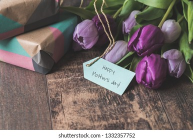 Mother's day background tulips and presents