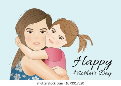 Mother's day card, background. Mother and daughter.