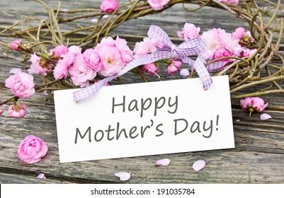 Tageskarte der Mutter mit rosafarbenen Blüten/Frohe Muttertag/Englisch