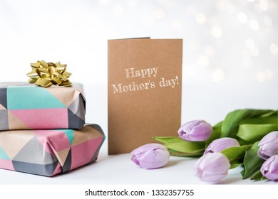 Mother's Day card with tulips and present