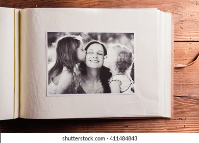 Mothers day composition. Photo album, black-and-white picture. W
