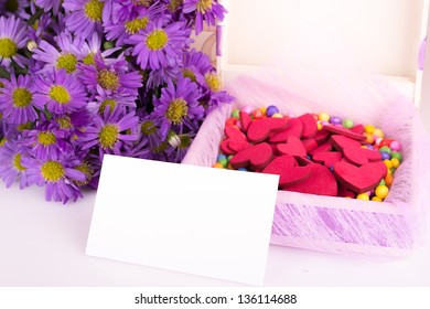 Mother's Day Concept present gift with colorful flowers.