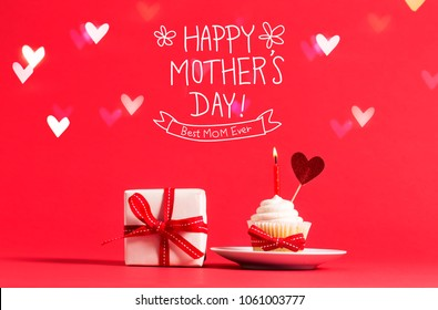 Mother's Day message with cupcake and heart ornament