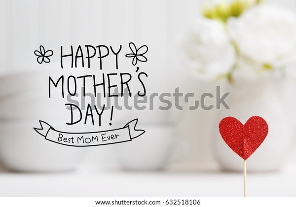 Mothers Day message with small red heart with white dishes