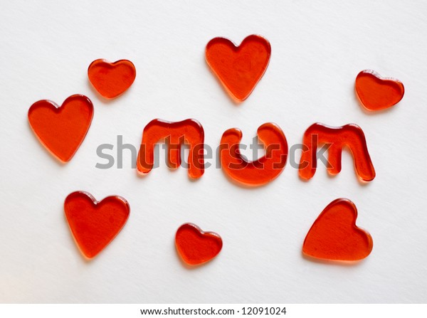 mothers' day sign love hearts in red