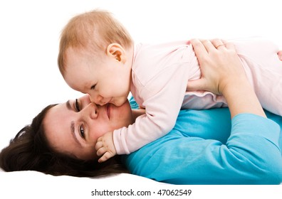 Mother's love. Cute little baby with mother.