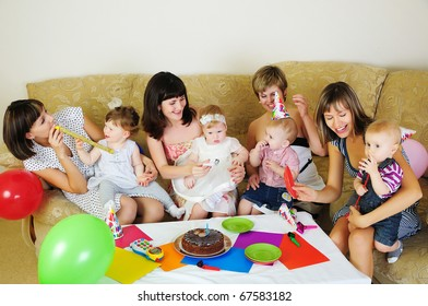 Mothers and their children gathered together to have fun. Children's Holiday