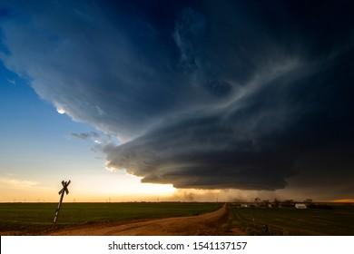 "A ""mothership"" supercell storm seen near Huntsman, Nebraska."