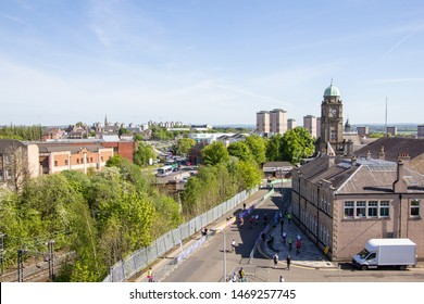 Motherwell, Scotland - 14 May 2019: Aerial View of Motherwell with Old Townhall Tower