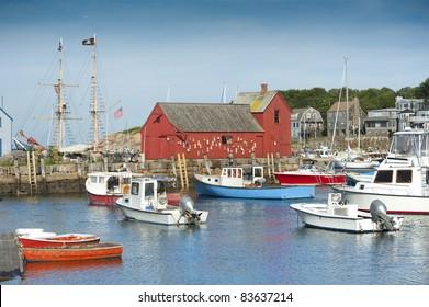 Motif #1, fisherman's shack in Rockport harbor, massachusetts, USA