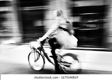 Motion abstract background and black and white street photography in Lyon, France