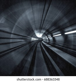 Motion Blur Abstract - in an underground tunnel heading towards a light. Black and white.
