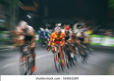 Motion blur of Asian Cycling Championship during the race for background,vintage tone