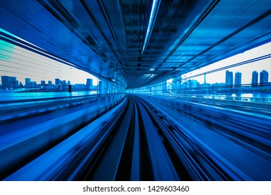 Motion blur of Automatic train moving inside tunnel in Tokyo, Japan.