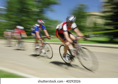 Motion blur of bicycle race.