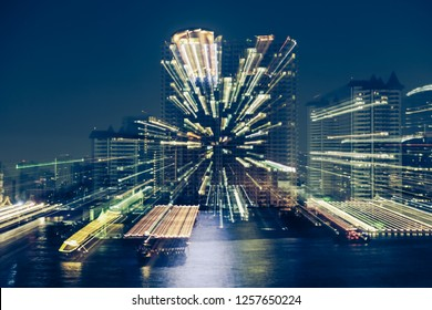 Motion Blur of City at night with light bokeh and water reflection background