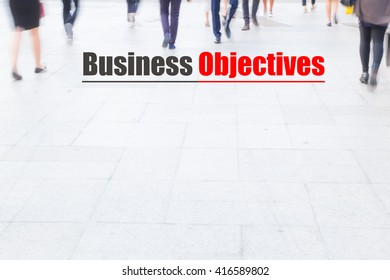 motion blur crowd walking, business objectives, business management concept