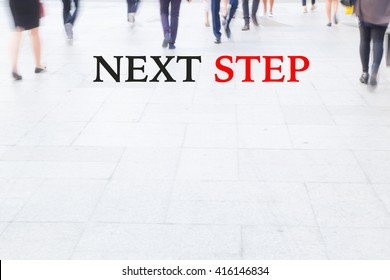motion blur crowd walking, next step, business management concept