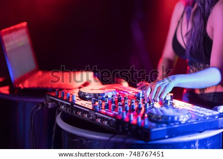 motion blur dj hands on equipment stock photo edit now 748767451