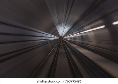 Motion blur / effect of view from tunnel at the MRT railway station in Kuala Lumpur. The MRT is a component of the Klang Valley Public Transport System.