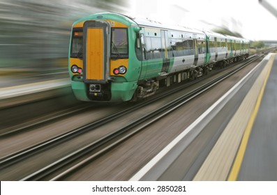 Motion blur from a fast speeding british train