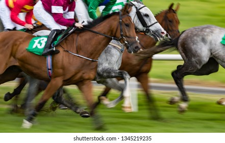 Motion blur horse racing action
