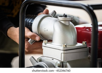 Motion blur image of agriculture hand assemble water pump