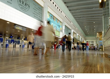 Motion blur image of people at barcelona airport