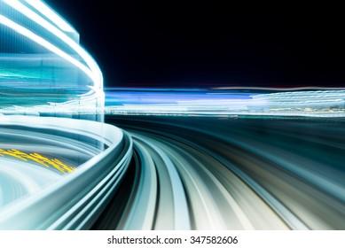 Motion blur of Japanese Railway at Night