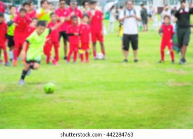 Motion blur of Kids Playing Soccer Football Match.