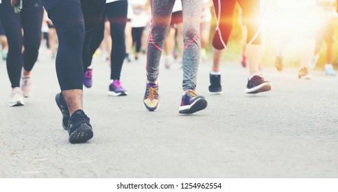 Motion blur of Marathon running