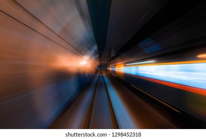 Motion blur of moving train in the tunnel