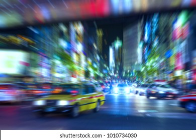 Motion Blur of Night Traffic, Tokyo, Japan