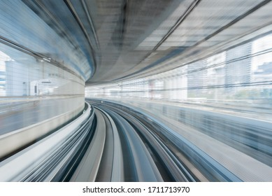 Motion blur on the moving train Yurikamome line in Tokyo, Japan.