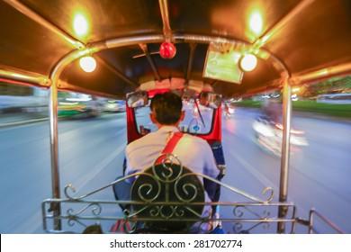 motion blur on tuk -tuk, bangkok thailand