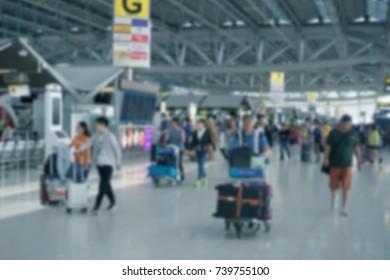 Motion blur, The passenger walking at airport terminal, Blurred Defocused background