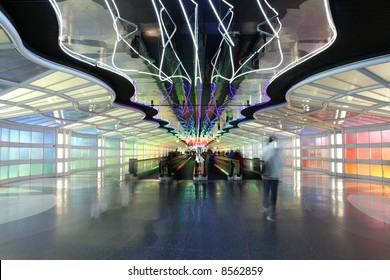 Motion blur of passengers at a busy terminal, O'hare airport, Chicago