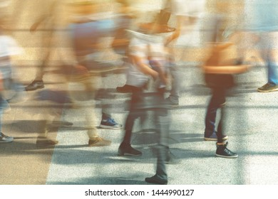 Motion blur people crowd. General public rush hour abstract scene.