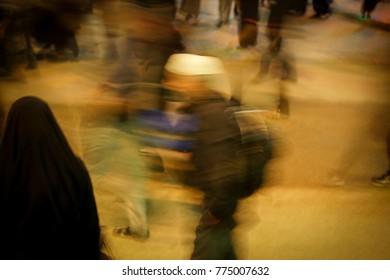 Motion blur of people walking