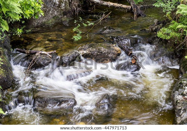 Motion blur of a small Scottish stream in the Trossachs as it cascades over ancient rocks as it flows down to a loch below.