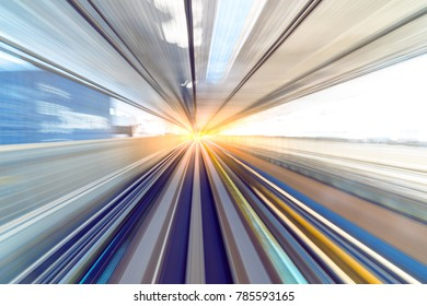 Motion blur of speed train moving in tunnel.