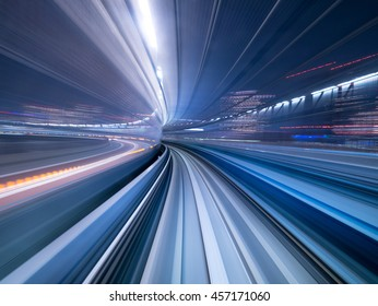 Motion blur of train moving inside tunnel in Tokyo, Japan
