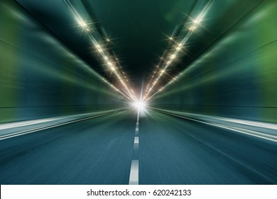 motion blur tunnel perspective background, futuristic underground modern road for fast movement backdrop