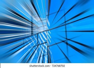 Motion blur visual effect on commercial building