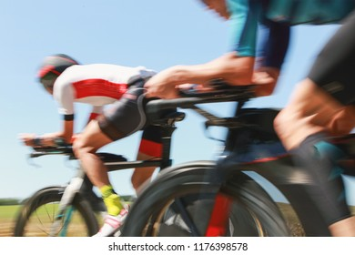 Motion Blurred bicyclists in a race