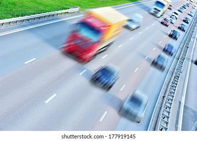 Motion blurred daytime traffic