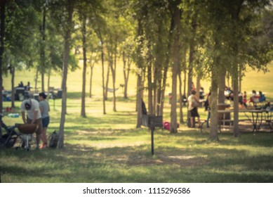 Motion blurred friend and family members enjoy barbecue on lakeside area. Portable picnic grills BBQ with meat skewers smoke. Outdoor camping at natural park in Grand Prairie, Texas, USA