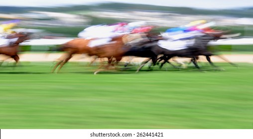 Motion blurred horse race background