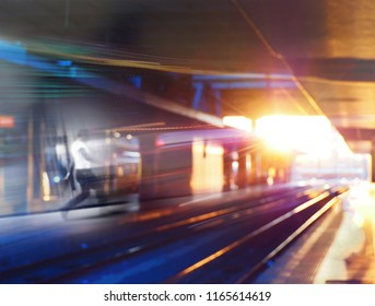 Motion blurred image of a walking man on a subway train  station